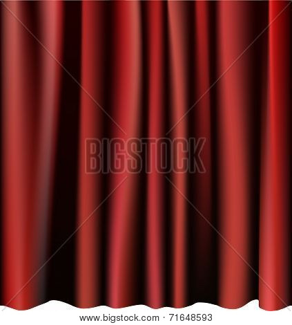 Red curtain for the stage. Editable vector meshes.