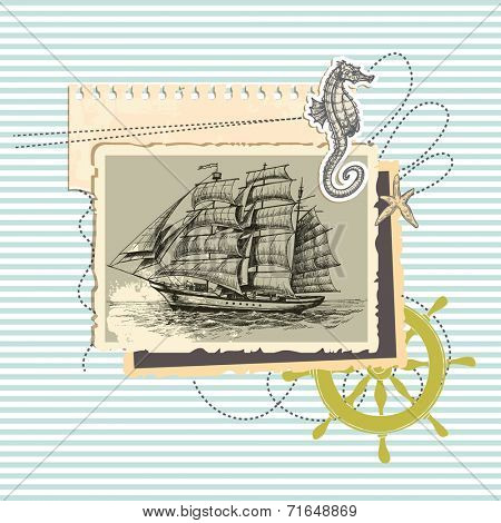 Summer memories, old ship photo and marine elements, retro scrapbook background
