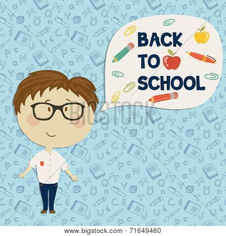 Young boy in glasses say back to school