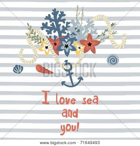 Card with bouquet and rope