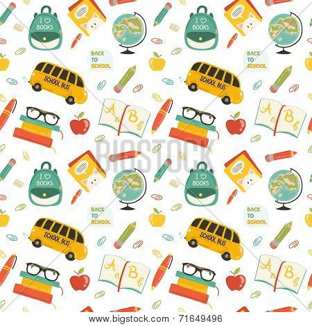 Cute school cartoon seamless pattern