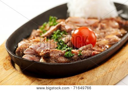 Fried Chicken with Sauce and White Radish