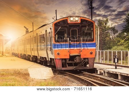Diesel Engine Trains On Track Ways Station Against Beautiful Dusky Sky Use For Land Transport And Tr