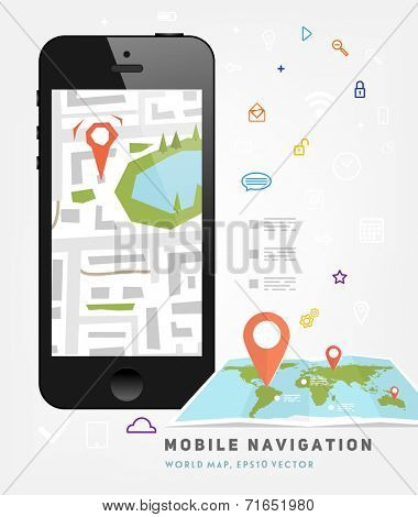 World Map. Mobile GPS Navigation. Mobile Phone. Mobile Technologies Concept.