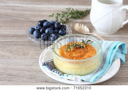 Delicious Lemon Pudding Cake Served In Ramekins