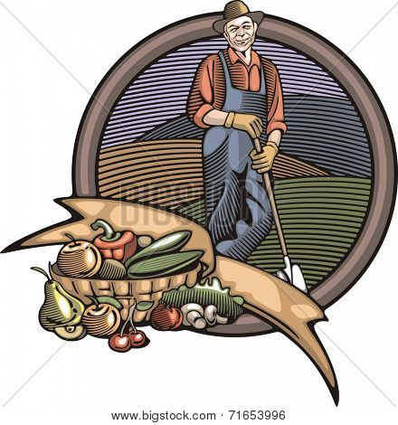 Vector illustration in retro woodcut style of a farmer, happy with the good harvest.