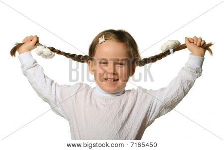 The Little Girl Holds Hands Braids