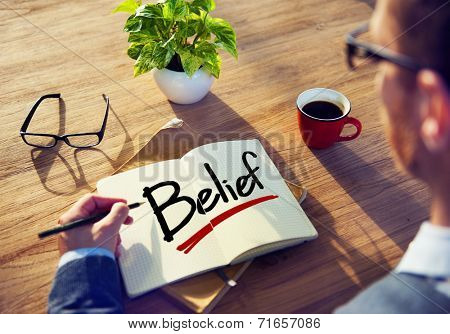 Businessman Brainstorming About Belief