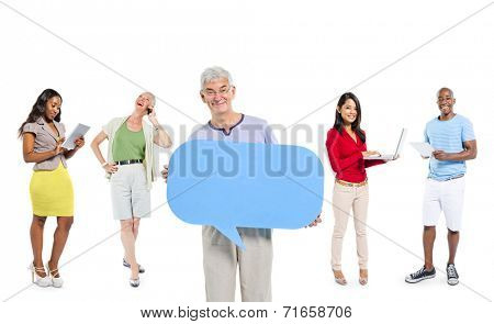 Multi-ethnic group of casual people with social media
