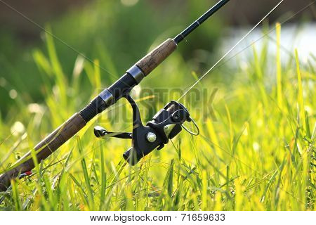 spinning with reel on the background of green grass