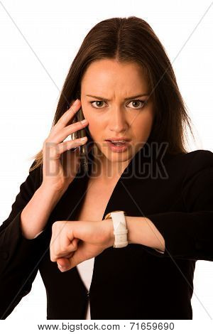 Preety Asian Caucasian Woman Looks Watch Gesture Being Late
