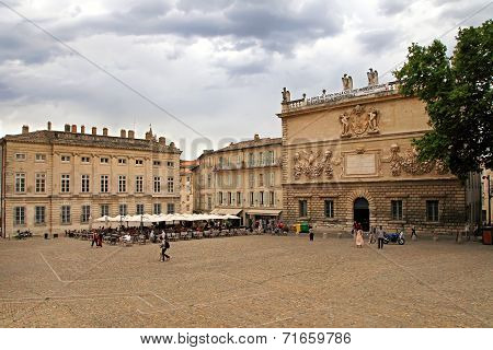 Avignon, France - July 1, 2014: Square In Front Of The Palais Des Papes In Avignon, The Venue Of Var