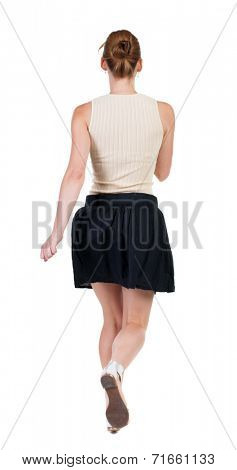 back view of running  woman in dress. beautiful blonde girl in motion. backside view of person.  Rear view people collection. Isolated over white background.