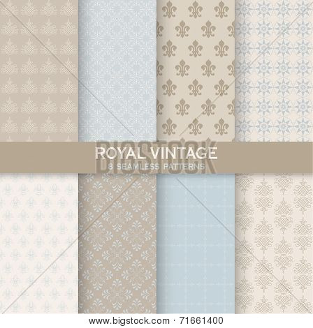 8 Seamless Patterns - Royal Vintage Set - Texture for wallpaper, background, texture, scrapbook - in vector