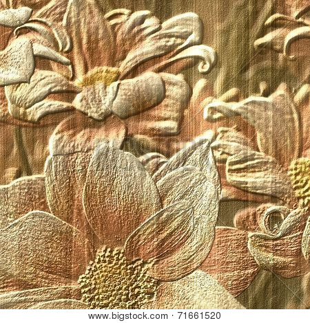 Flower Stone Relief Background