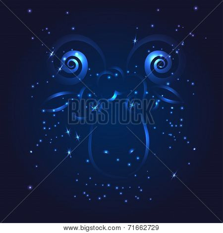 Aries zodiac whith glitter star