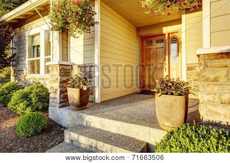 Entrance Porch With Stone Trim
