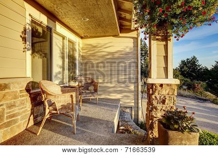 Romantic Sitting Area On Entrance Porch.