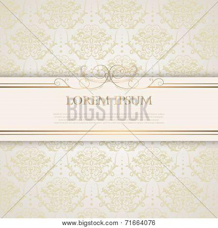 Vintage background with golden silk pattern