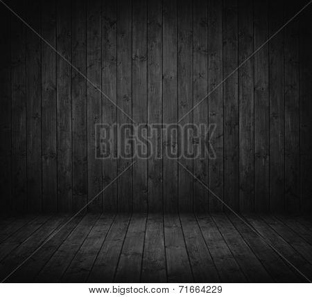 dark wooden interior room in black and white.