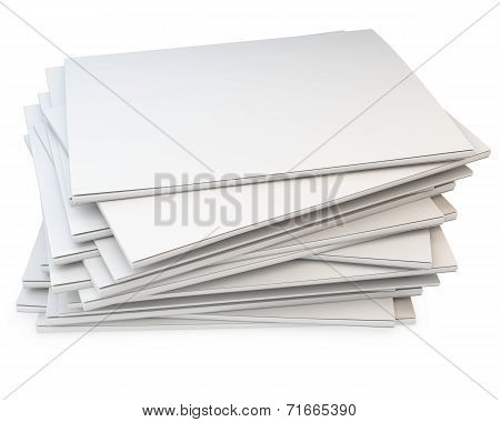 3D Stack Of Blank Catalogs, Magazines
