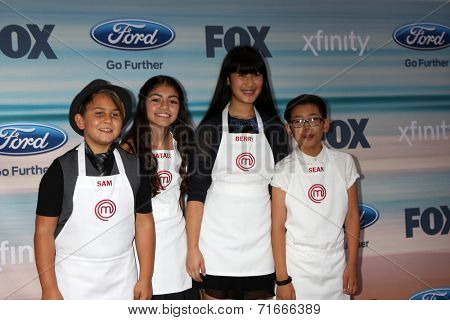 LOS ANGELES - SEP 8:  Masterchef Jr Contestants:  Sam, Berry, Natalie, Sean at the 2014 FOX Fall Eco-Casino at The Bungalow on September 8, 2014 in Santa Monica, CA