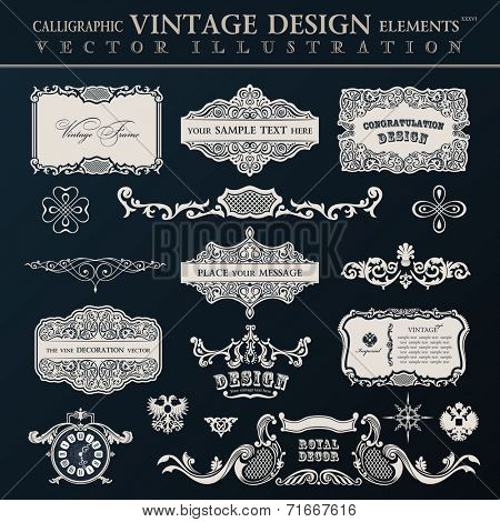 Calligraphic vintage elements and page decor. Vector frame ornament set