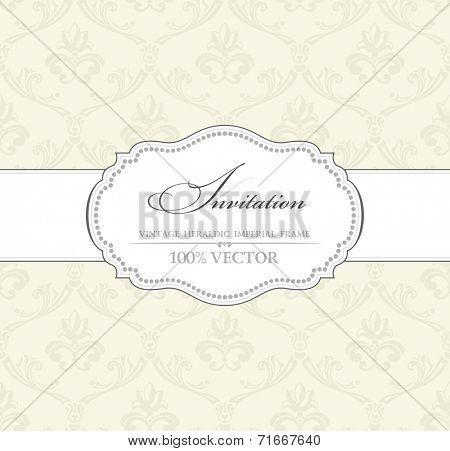 Background vintage label. Banner flower frame. Vector isolated illustration