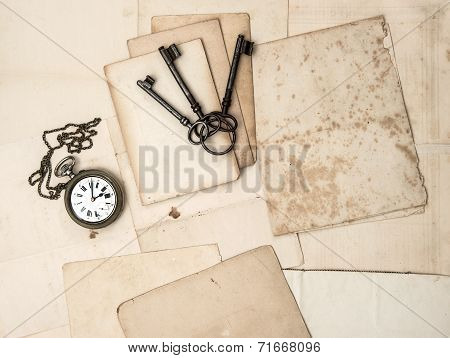 Antique Keys And Clock, Old Postcards And Papers