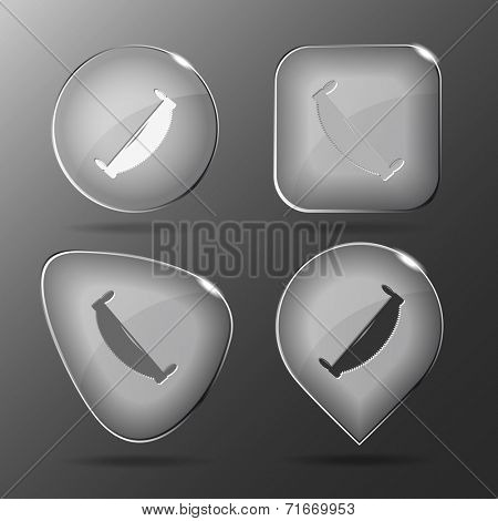 Two-handled saw. Glass buttons. Vector illustration.