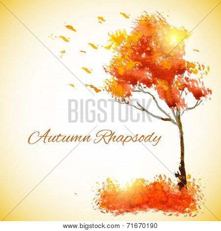 Watercolor autumn tree with falling leaves