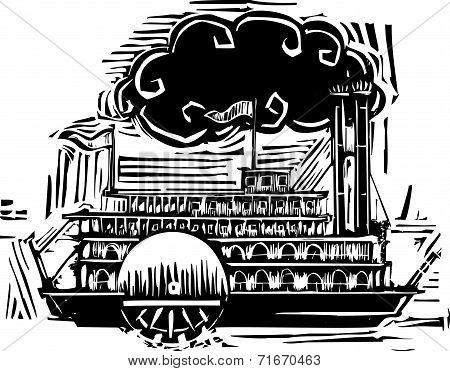 Woodcut Side Wheel Steamboat