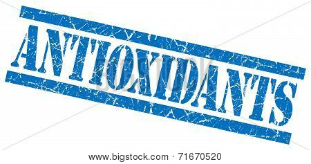 Antioxidants Blue Square Grungy Isolated Rubber Stamp
