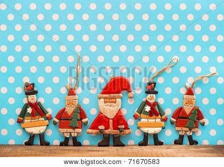 Christmas Decoration With Antique Handmade Wooden Toys