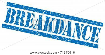 Breakdance Blue Square Grungy Isolated Rubber Stamp