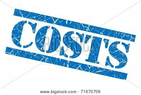 Costs Blue Square Grungy Isolated Rubber Stamp