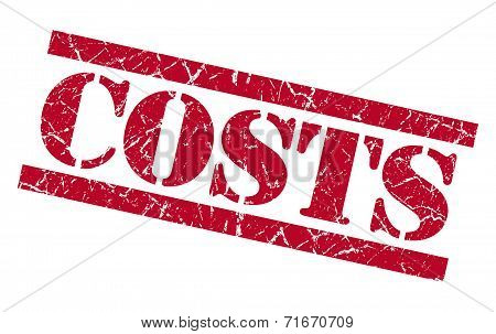 Costs Red Square Grungy Isolated Rubber Stamp