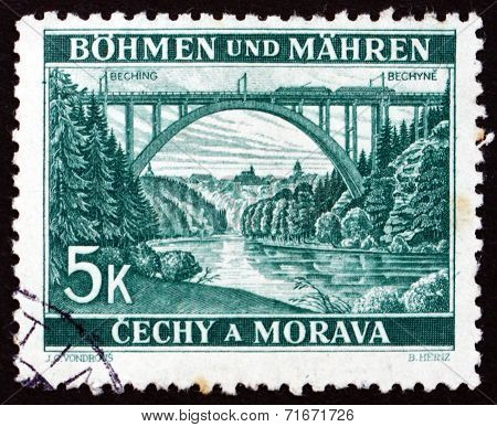 Postage Stamp Bohemia And Moravia 1940 Lainsitz Bridge Near Bechyne