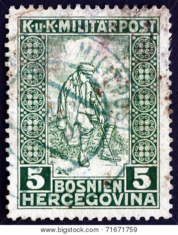 Postage Stamp Bosnia And Herzegovina 1916 Wounded Soldier