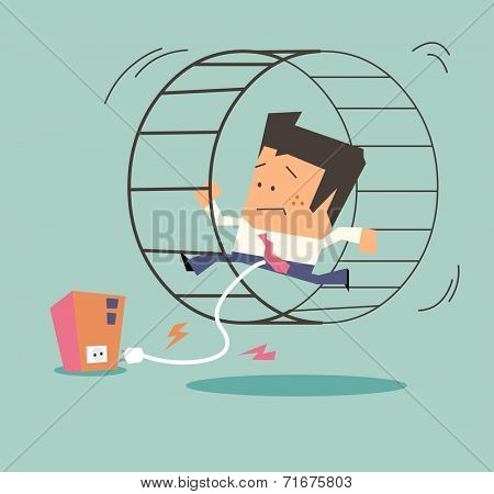 Slave of the company. Flat vector illustration