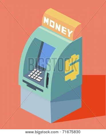 auto teller machine. Flat vector illustration
