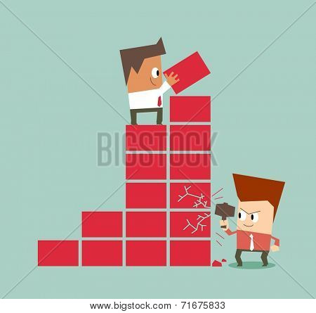 Bad competition between employee. Flat vector illustration