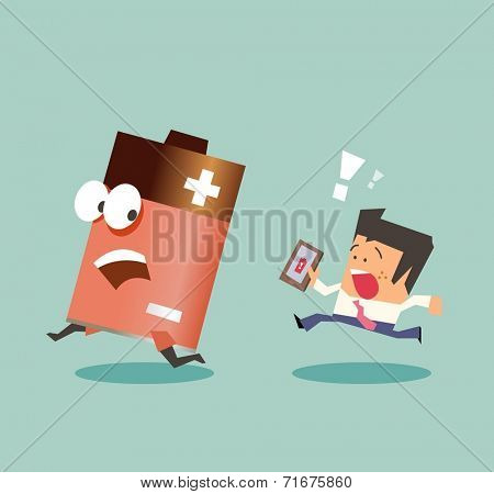Running with battery life. Flat vector illustration