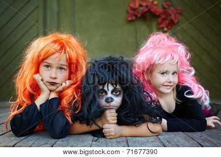 Group of Halloween girls posing for camera