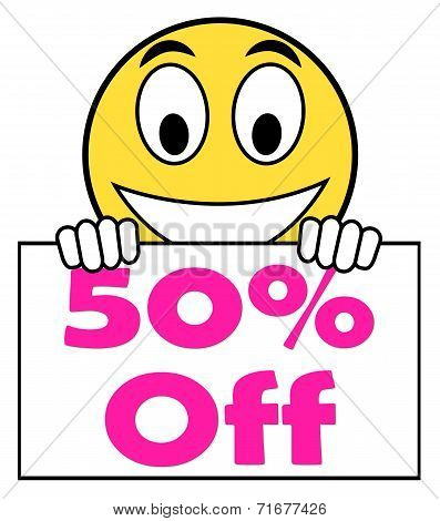 Fifty Percent Sign Shows Sale Discount Or 50 Off