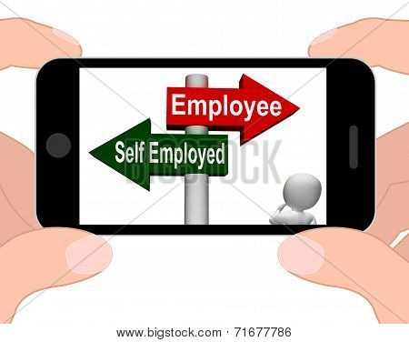 Employee Self Employed Signpost Displays Choose Career Job Choice