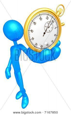 Sosteniendo un cronómetro