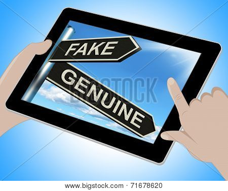 Fake Genuine Tablet Shows Imitation Or Authentic Product