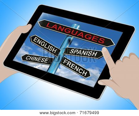 Languages Tablet Means English Chinese Spanish And French