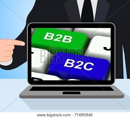 B2B And B2C Keys Displays Business Partnerships Or Consumer Relations
